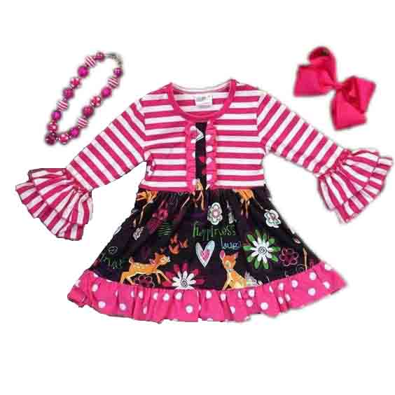Fall boutique children girl outfits floral print long sleeve ruffle baby dress