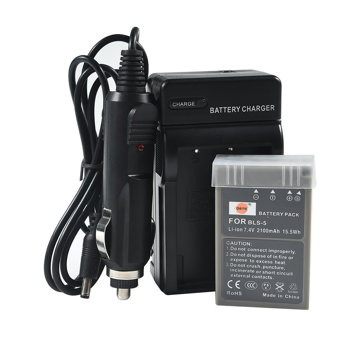 DSTE® PS-BLS5 Battery + DC84 Travel and Car Charger Adapter for Olympus OM-D E-400 410 420 450 600 620 E-P1 P2 P3 PL1 PL2 PLE15 PM1 PM2 M10 PL6 PL5 stylus 1 Camera as BLS-5