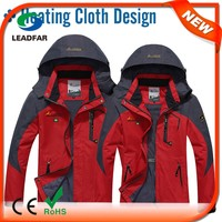 heating jacket with waterproof and windproof fabric surface burst power button