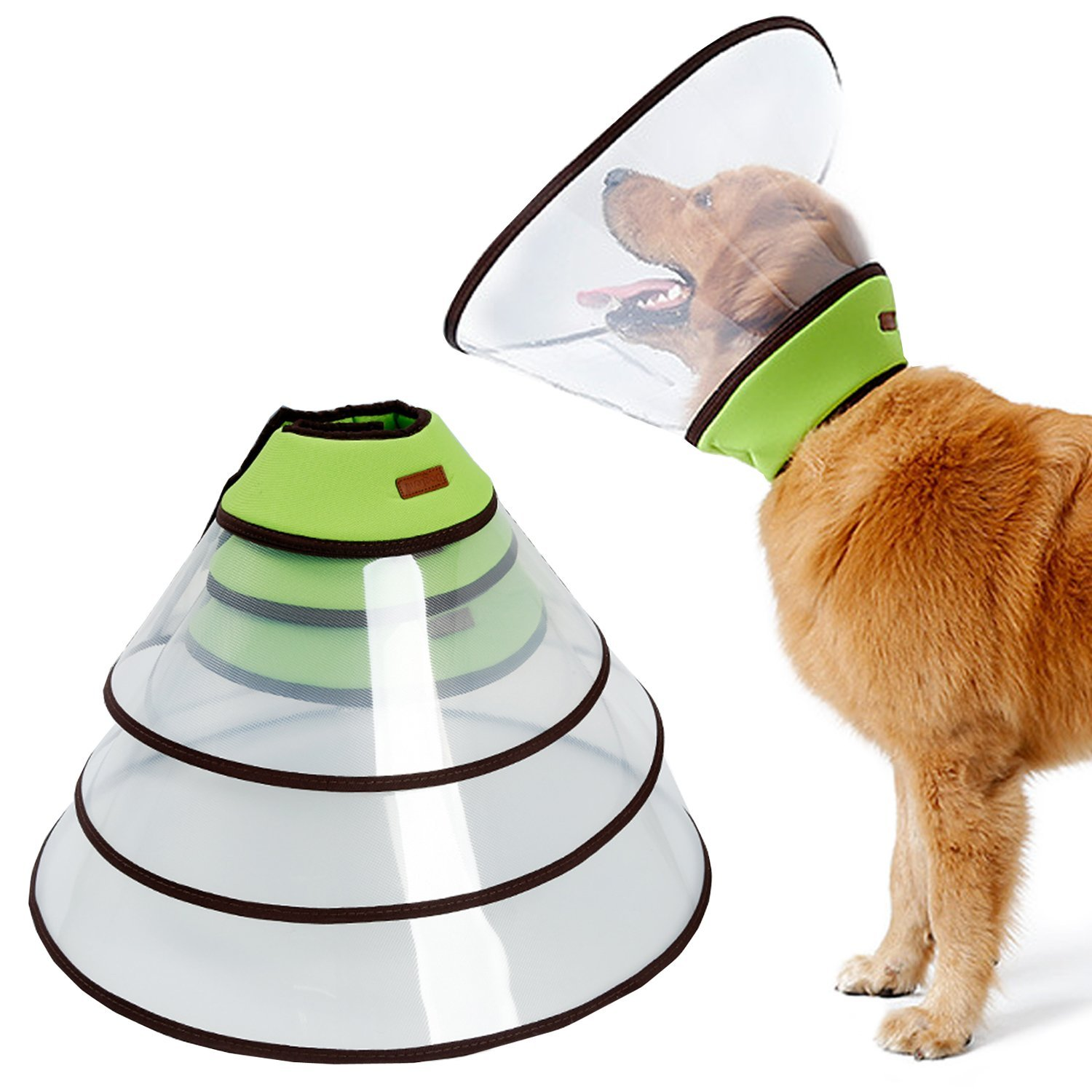 Dog Cone for Large Dogs, Adjustable Padded Dog Cone Collar with Velcro and Soft Edge, Plastic Recovery Cone for Dogs Suitable for Extra Large, Large and Medium Breeds