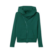 Stylish and comfortable street zipper casual high collar hooded sweatshirt women