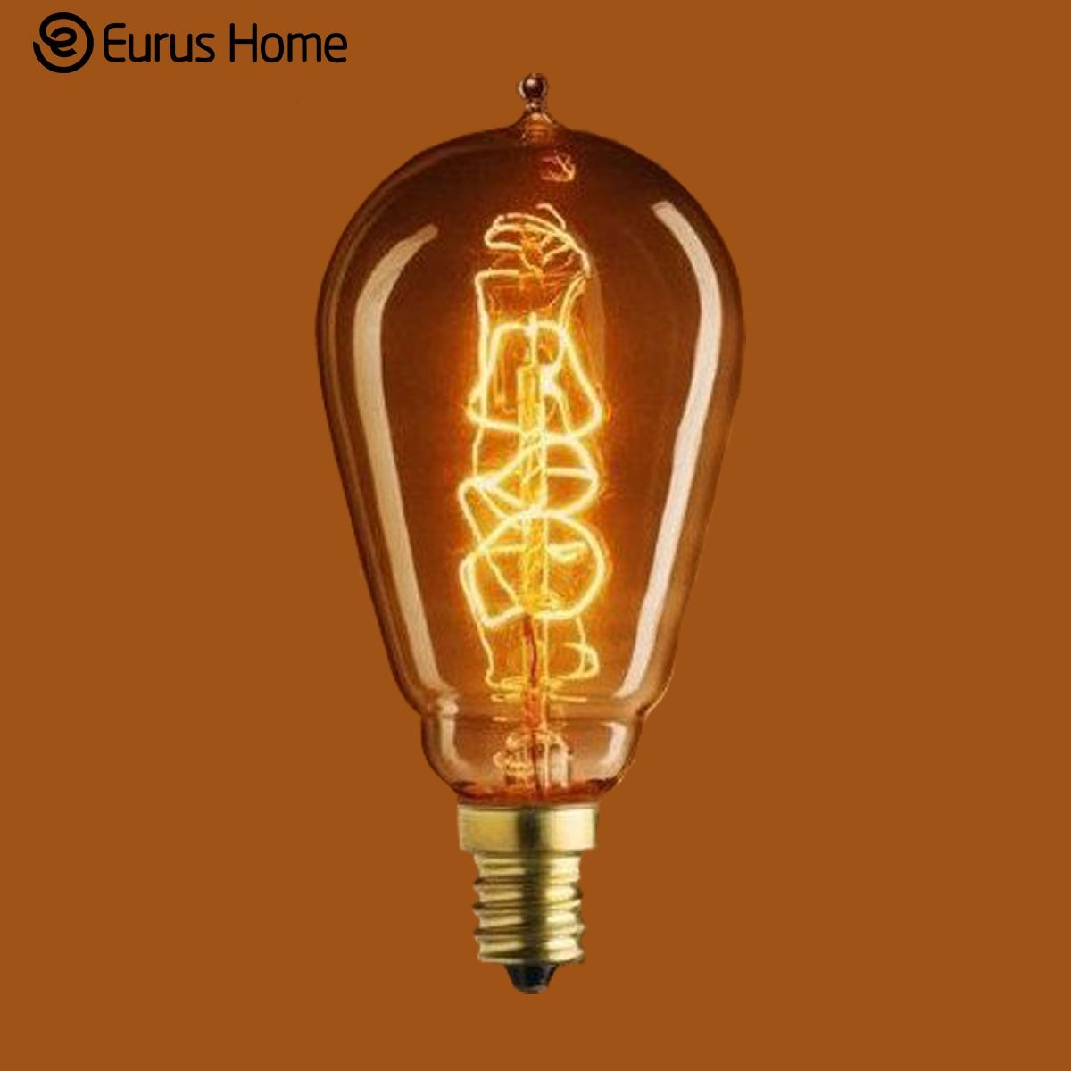 Eurus Home 25 Watt - Vintage Antique Light Bulb - ST15 Edison Style - Candelabra Base - Hand-Wound Spiral Tungsten Filament - Multiple Supports - Clear (1 Pack)
