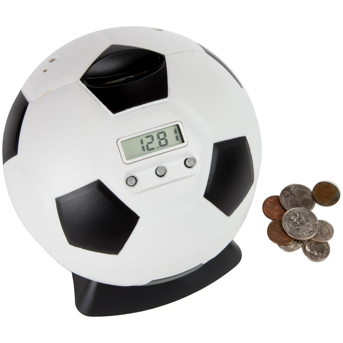 Lily's Home Kid's Money Counting Soccer Ball Digital Coin Bank, Counts U.S. Pennies, Nickels, Dimes, Quarters, Half Dollars, and Dollar Coins, Ideal for Personal Savings, Learning or Play