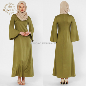 Wholesale 2018 Malaysia Latest Design Pure Color Jubah Muslimah Islamic Clothing