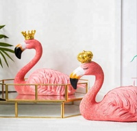 Manufacturer Custom Polyresin Craft Figurine Home Decorative Wedding Favors Gifts Party Souvenir Couple Pink Flamingo With Crown