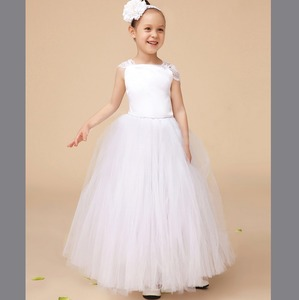 Promotional cheap custom wholesale cupcake box tulle layered flower girl dress Toddler Girls Lace Baby Girl Wedding Dress