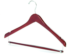 Wholesale grand Space saving flat Wooden suit hanger top with locking bar secure pants in brown color