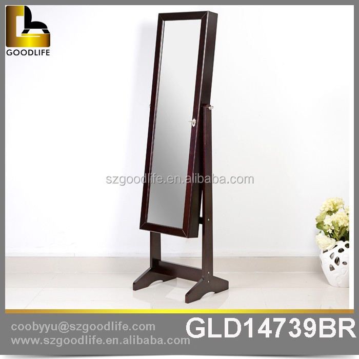 French Style Floor Standing Wooden Mirror Jewellery Cabinet for Jewelry Storage Display