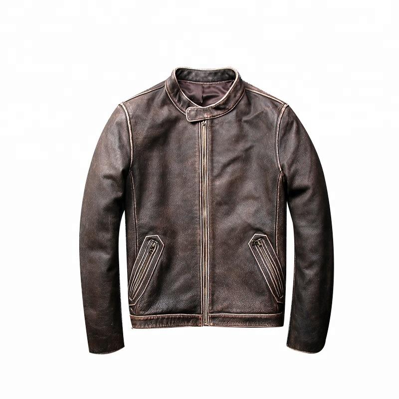 Leather Motorcycle Jacket For Men Moto Riding Cafe Racer Vintage Brando Biker Jackets CE Armored XL