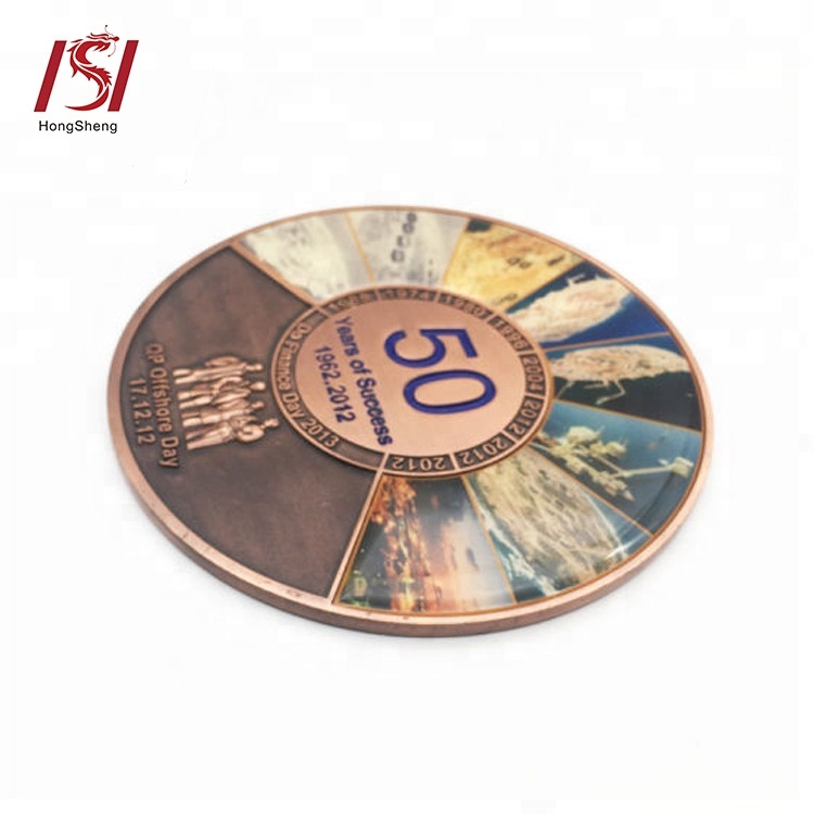 custom logo silver gold plated offset printing metal souvenir coin