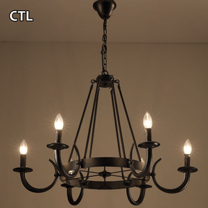 American country style vintage indoor lighting lamps antique black chandelier pendant light for bedroom hotel