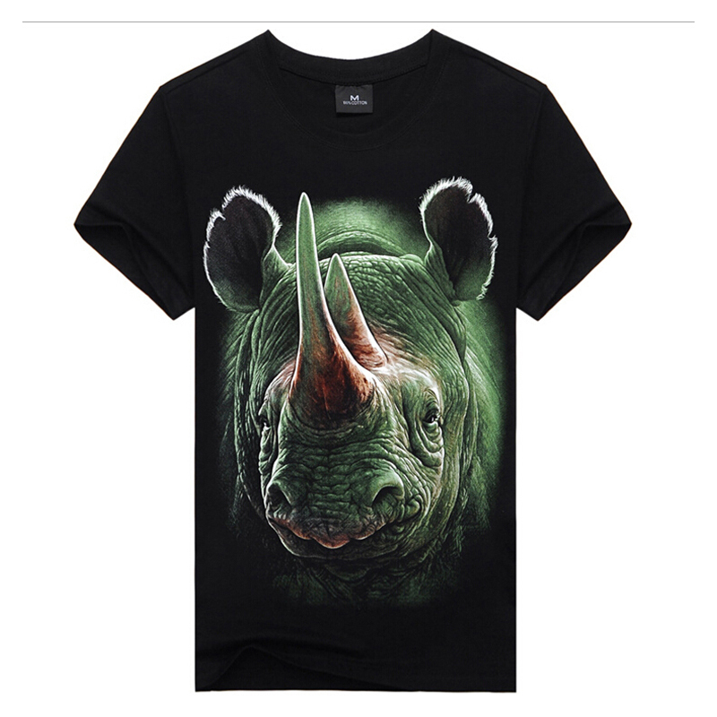 Cool summer style Top Tees 3Dprint t-shirts,MEN T-shirts Green rhinol print,100%cotton men's tee,hip hop street wear,man appeal