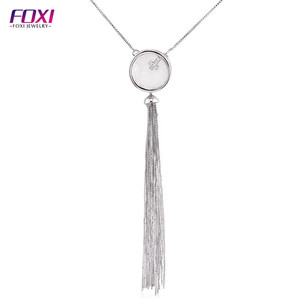 Hot sale mother of pearl shell long tassel necklace for girls