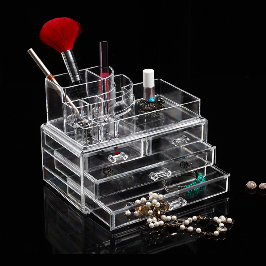 Top fabrikant groothandel grote acryl clear box opslag Make up organizer