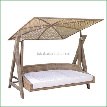 Double Seat Garden Swing Seat Patio Furniture With Wrought Iron Two