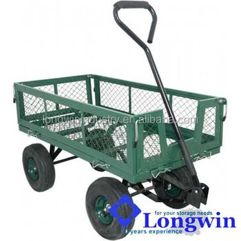 Flatbed Wheelbarrow 4 Wheels Heavy Duty Hand Pull Trolley