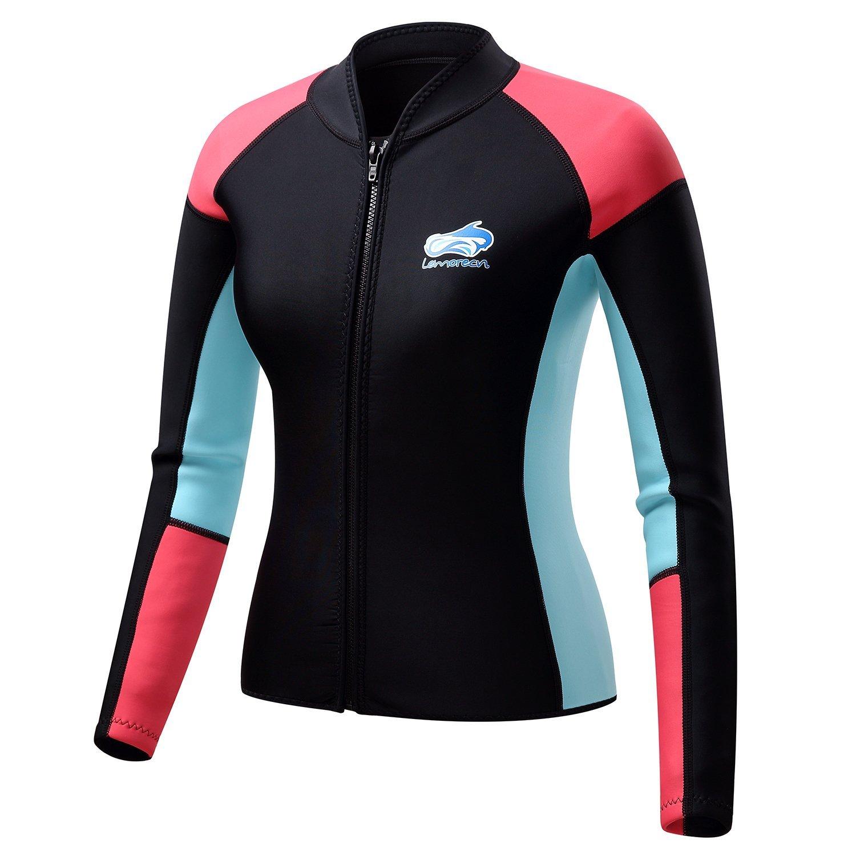 832f2f298e Get Quotations · Lemorecn Women s 1.5mm Wetsuits Jacket Long Sleeve  Neoprene Wetsuits Top