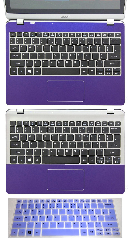 "3in1 Full+Half Wrist Palmrest Touchpad Skin+ Keyboard Protector for 11.6"" Acer Aspire V5-122 V5-122P V5-132 V5-132P (shimmery purple palmrest sticker+half palmrest sticker+semi-purple keyboard skin)"