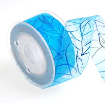 1-1/2 inch organza ribbon with foil blue flower printed ribbon