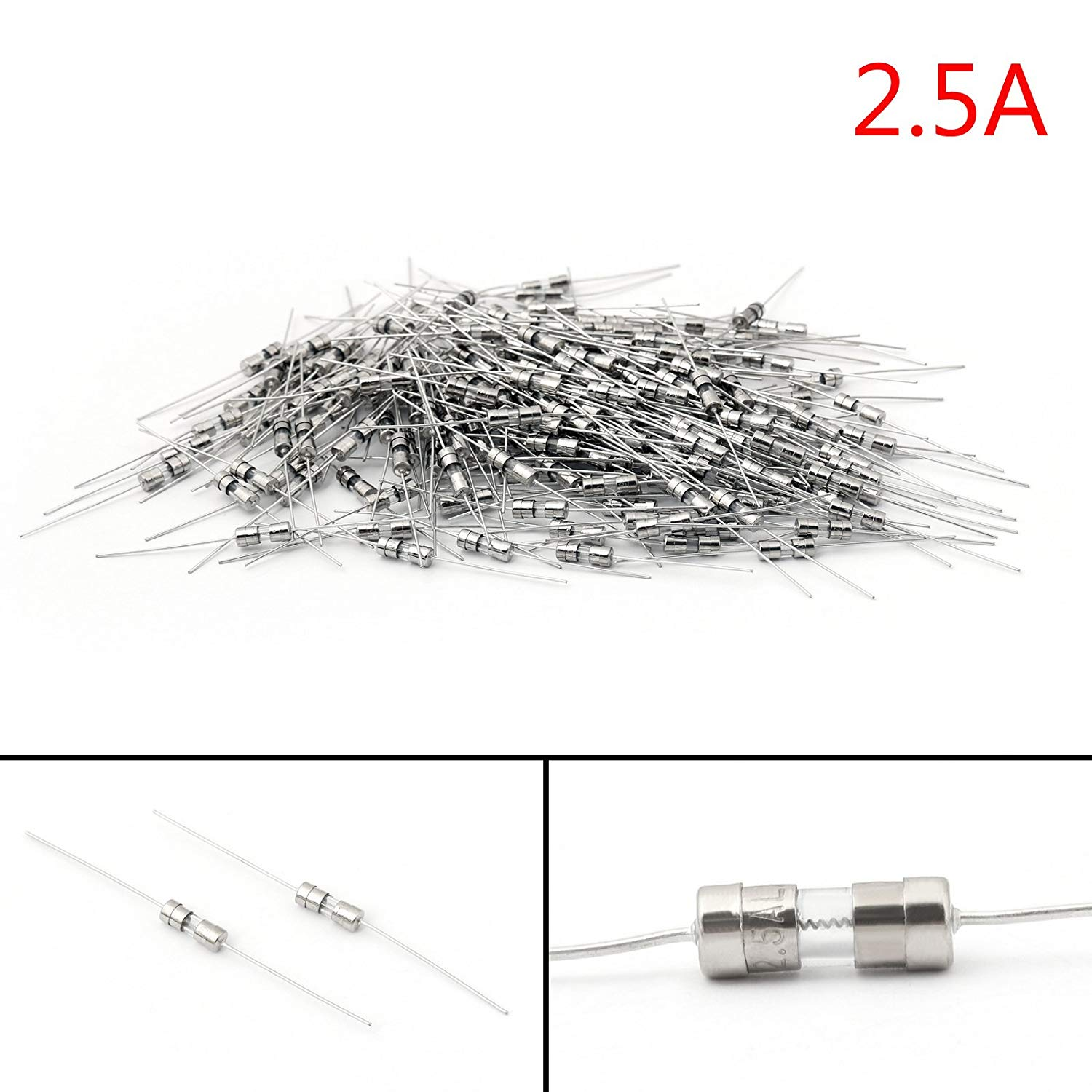 50Pcs Glass Tube Fuse Metal Axial Double Hat Slow Blow Fuse 3.6x10mm 250V//10A T2