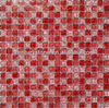 Mini square reds parttern ice crackle glass mosaic tile for walls