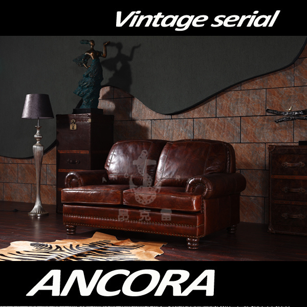 american antike vintage stil zwei sitze braun leder sofa wohnzimmer m bel ledercouch a109. Black Bedroom Furniture Sets. Home Design Ideas