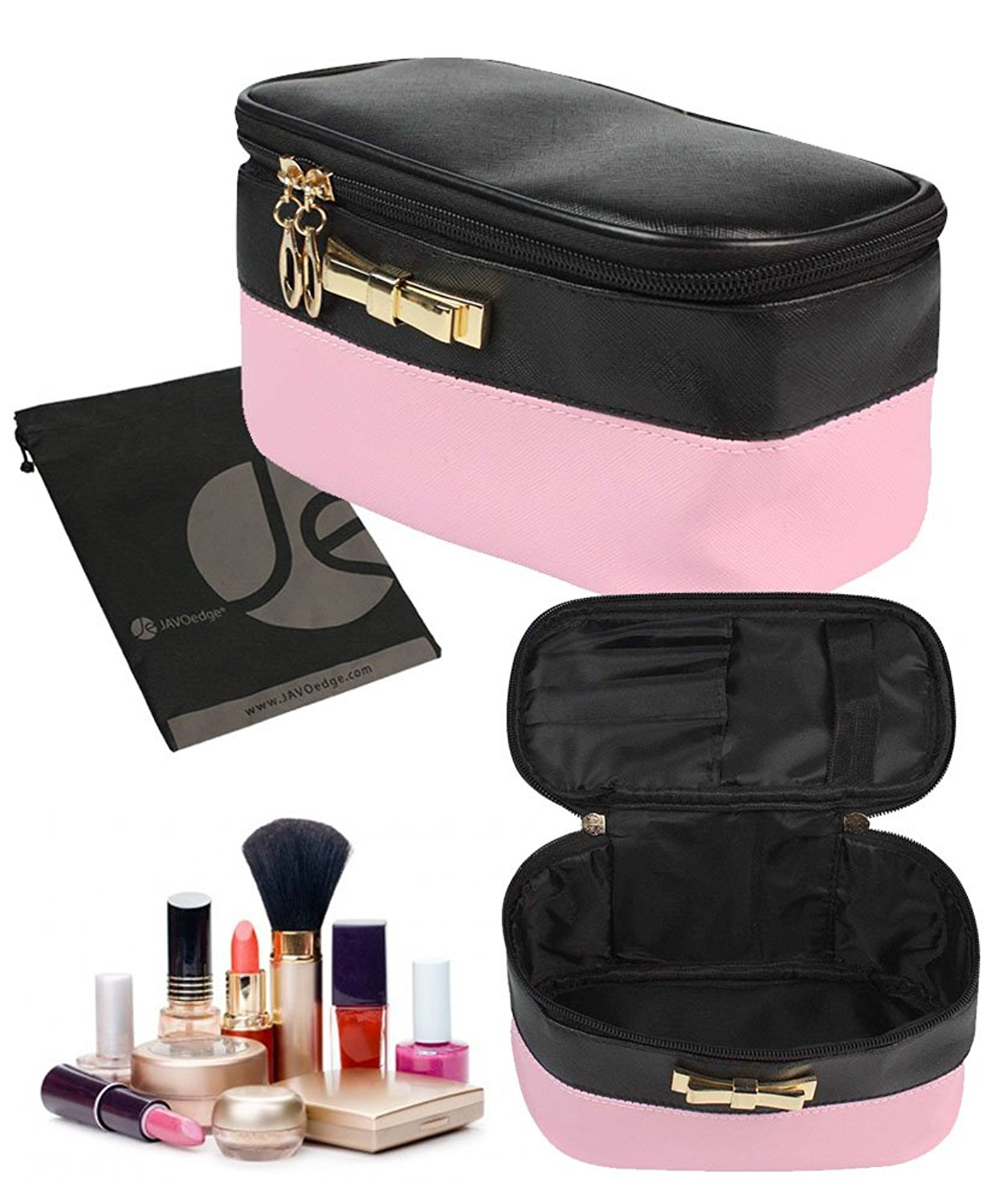 JAVOedge Dual Color Stylish Cosmetic Bag with Double Zipper with Brush Holder