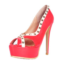 Design Sexy Wedding Shoes Custom Pink High Heel Red Bridal Wedding Shoes with Gold Rivet