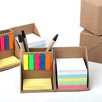Office Desk Sticky Note Combination, Recyclable Multi-Function Square Kraft Paper Box with Pen Holder