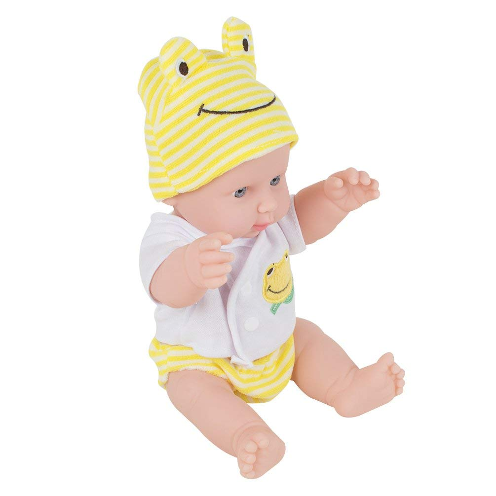 Funwill 12 inches Baby Kids Reborn Baby Doll Soft Vinyl Silicone Lifelike Sound Laugh Cry Newborn Baby Toy for Boys Girls Birthday Gift (Yellow)