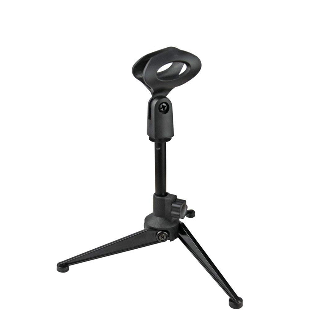 Yafeco Adjustable Foldable Tripod Desktop Microphone Stand Holder with Mic Clip for Meetings, Lectures, Podcasts, and More
