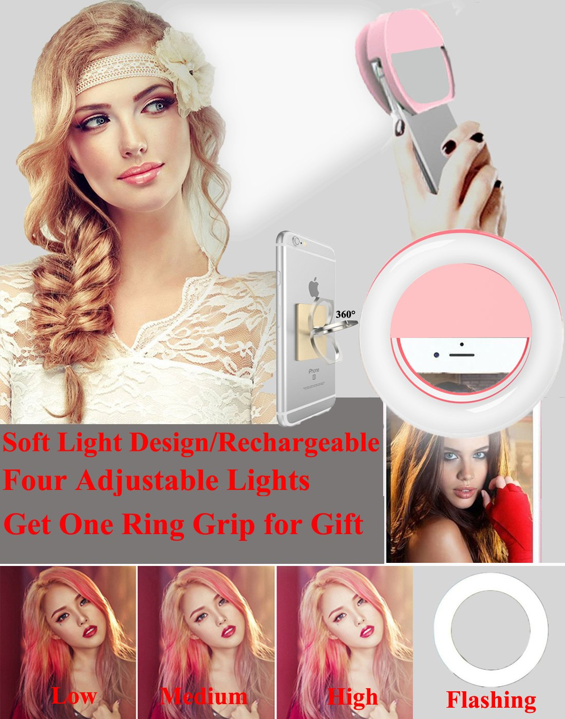 Selfie Ring Light,Werleo Rechargable Camera Flash Fill Light Dimmable Selfie LED Spotlight Lamp [36 LED]&Cell Phone Ring Grip Holder for iPhone iPad Macbook Sumsung Galaxy Note Android Phones Tablets