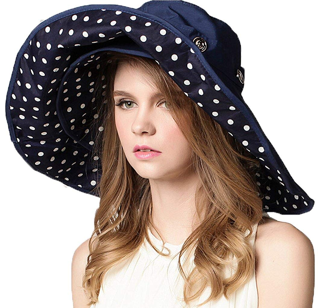 dc50030bc96 Get Quotations · Womens Summer Wide Brim Sun Hats Floppy Foldable Beach  Bucket Hat UPF 50+