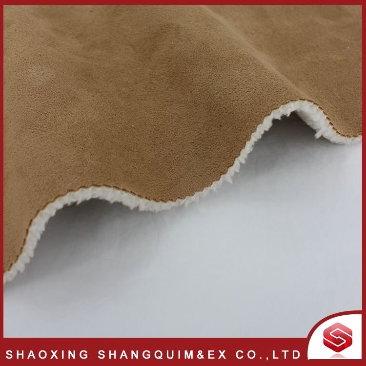 100% polyester micro suede bounding with lamb fur fabric