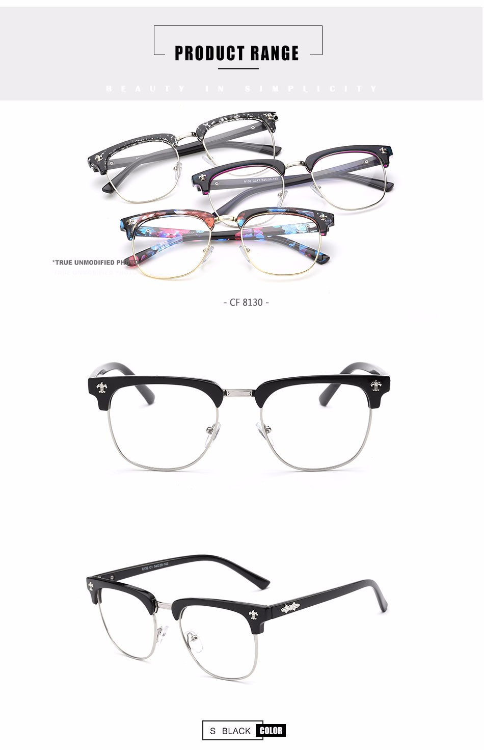 Cf8130 China Latest Fashion Pc Frame Eyeglasses Without ...