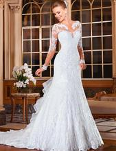 Elegant Wedding Gowns Bridal Dresses Popular Vintage Mermaid Long Sleeves Lace Wedding Dresses 2016 Cheap Vestido De Noiva