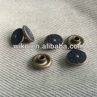 blue sprint color brass rivet button jeans