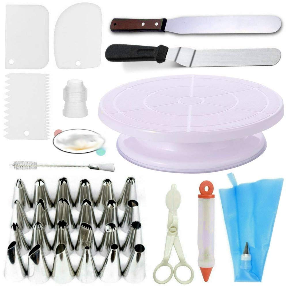 Cake Decorating Supplies Turntable Stand 2 Icing & Angled Spatula 24 Stainless Steel Tips 1 Pastry Bag 1 Cake Tip Brush 1 Cake Flower Lifter 1 Cake Pen 3 Cake Scrapers & ebook by big_store