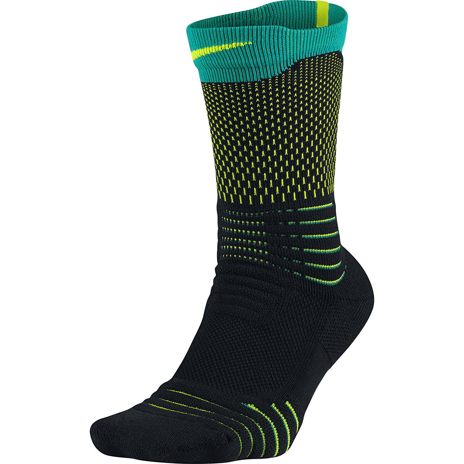 1e6434b0c88a Get Quotations · Nike Mens Elite Versatility Crew Basketball Socks Black Rio  Teal Volt Large (Mens