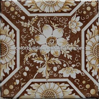 Handmade Porcelain Tile 150x150 Rustic Flower Design Moroccan Floor Tiles