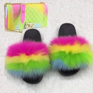 Wholesale custom  indoor slipper jelly bag  flush real soft raccoon fur slipper outdoor slider sandals fox fur slides for women