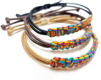 Zooying gay pride lesbian LGBT bracelet colorful wax cord woven bracelet as a gift