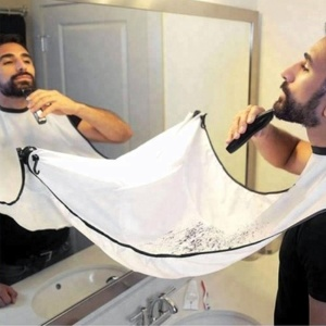 Waterproof Trimming Male White Color Polyester Beard Shaving Grooming Apron For Men