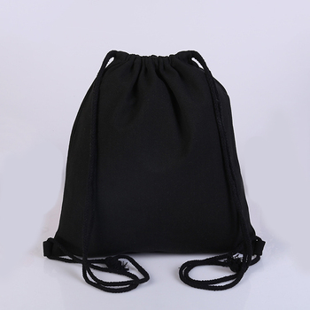 Factory price Black Cotton canvas drawstring bag backpack with logo