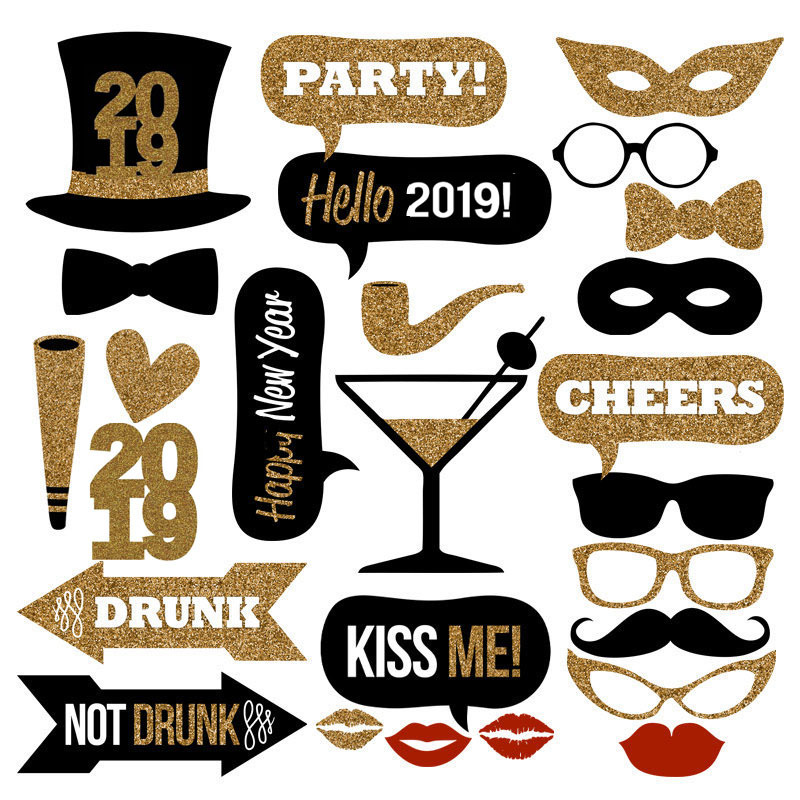 Happy New Year 2019 Photo Booth Props Eve Party Decoration Mascara Mask Gifts Christmas Party Decorations Supplies