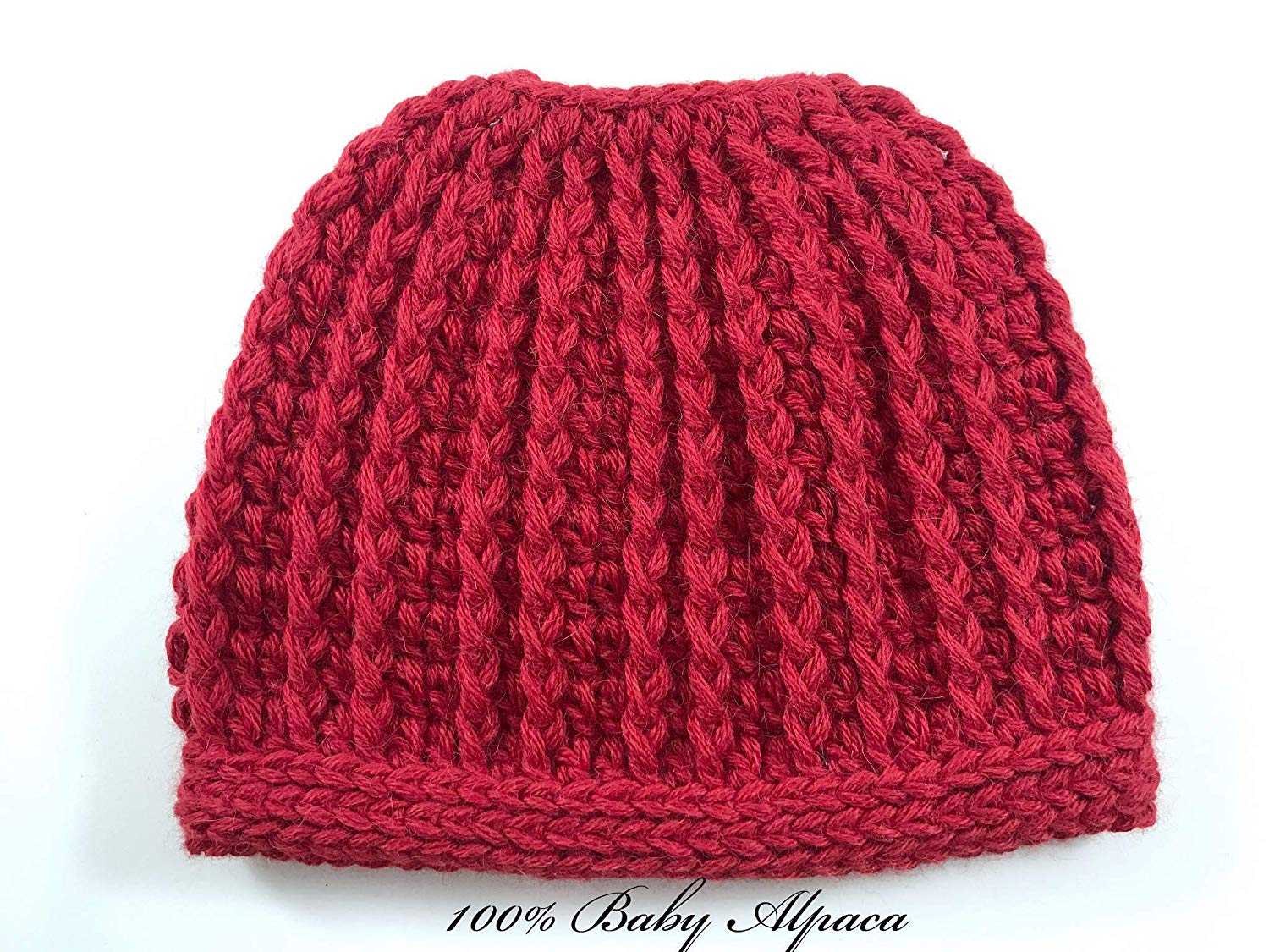 b5e670f2007 Get Quotations · Ponytail Hat Messy Bun Beanie for Women Red Alpaca Made in  USA