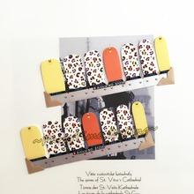 Yellow White Leopard Print Nail Art Sticker Patch 14 pcs set Waterproof Decals Foils Gel Polish