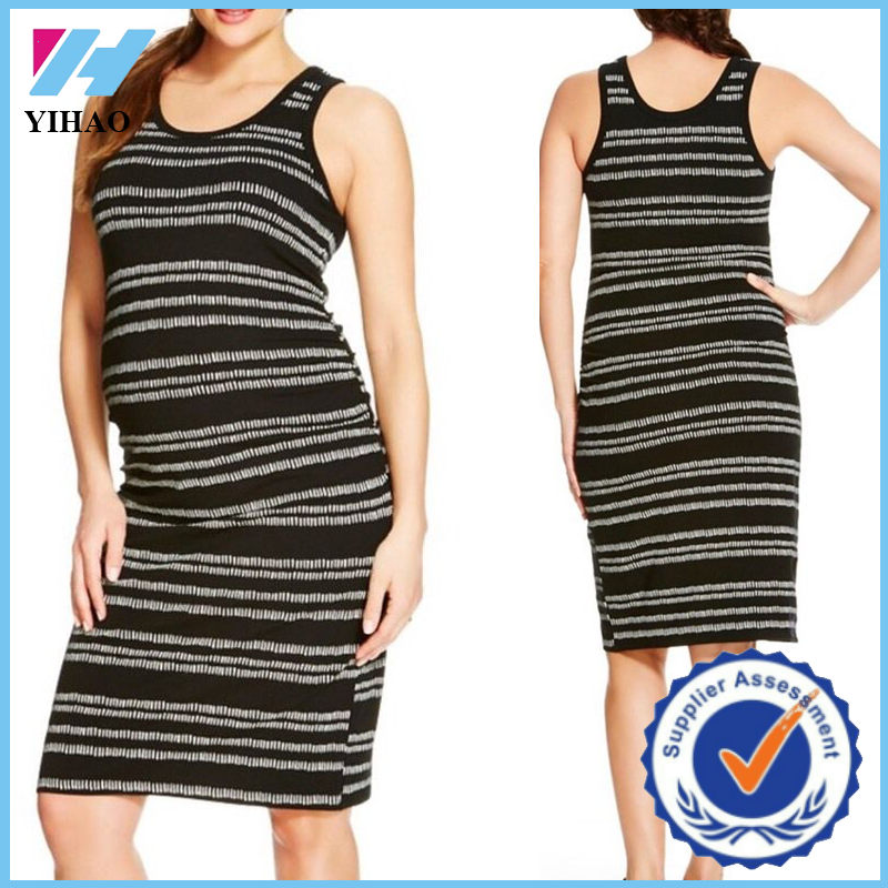 Yihao Fashion Maternity Wear Black White Striped Knee Length Dress For Pregnant Woman O Neck Casual Matermity Clothing