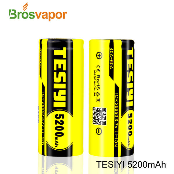 High quality Tesiyi battery 26650 5200mah With 60A discharging current rechargeable Li-ion battery