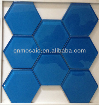 Hexagonal Bleu Brillant Verre Jet Deau Coupe Mosaïque Buy Jet D - Carrelage hexagonal bleu